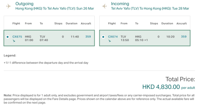 """Introductory Fares"" between Hong Kong and Tel Aviv on Cathay Pacific's new route as low as $620"