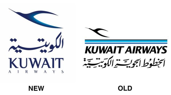 Side by side comparison of Kuwait Airways' new and old logos