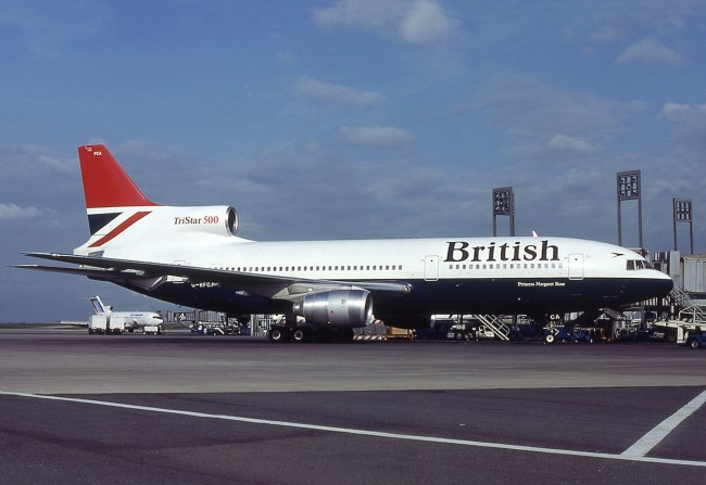 British Airways Lockheed L-1011 TriStar, a similar plane used to operate the London/Gatwick - New Oreleans route in the early 1980s.