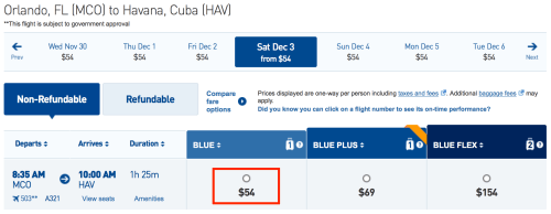 Fly from Orlando to Havana for $54 one-way on JetBlue