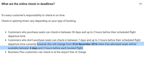 Ryanair is reducing the window of fee-free checkin from 7 days to 4 days