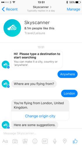 Skyscanner's Facebook Messenger bot