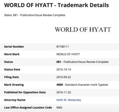 """Hyatt filed for """"World of Hyatt"""" trademark in September 2016"""