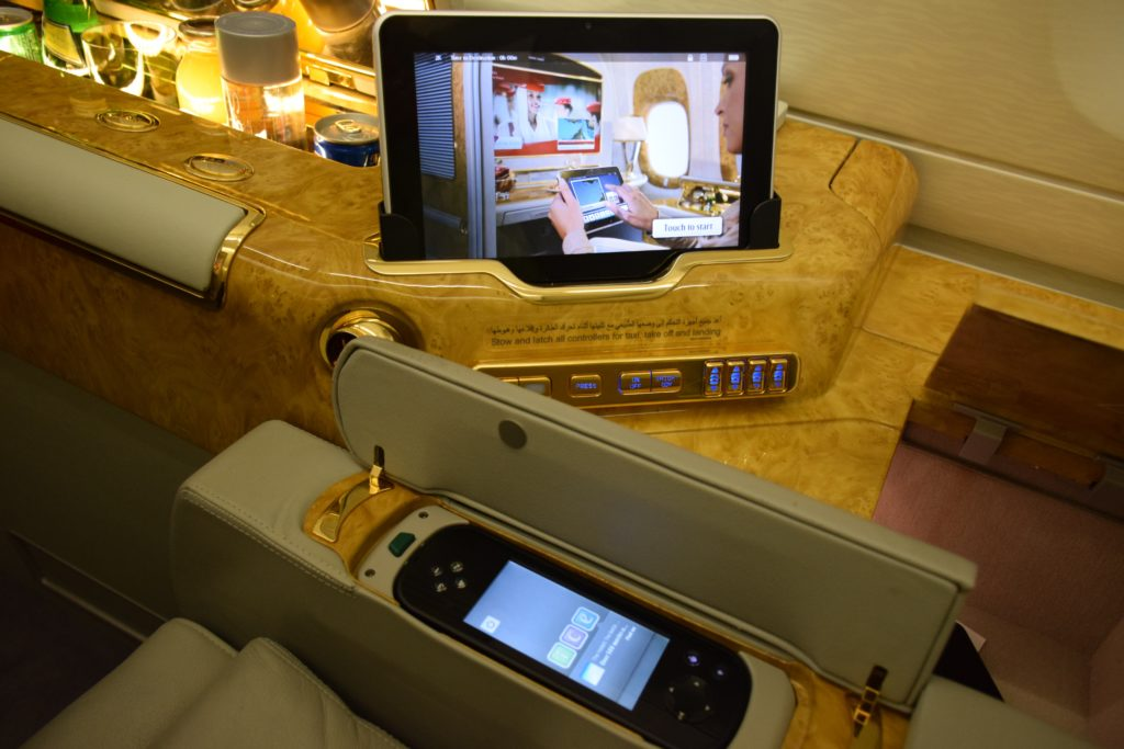 Emirates A380 First Class seat controls and in-flight entertainment remote