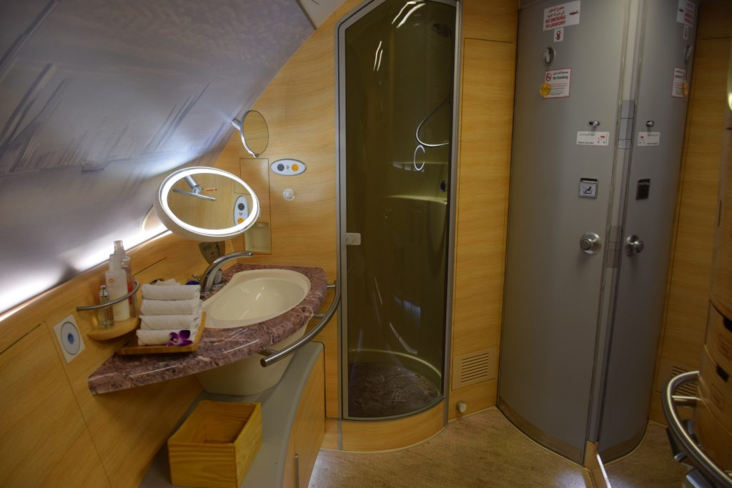Emirates A380 First Class Shower Spa