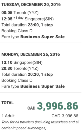 Fly between Toronto and Singapore for less than $3,000 for Christmas
