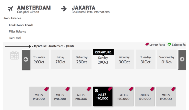 A one-way First Class ticket from Amsterdam to Jakarta will set you back 190,000 Garuda Indonesia miles.