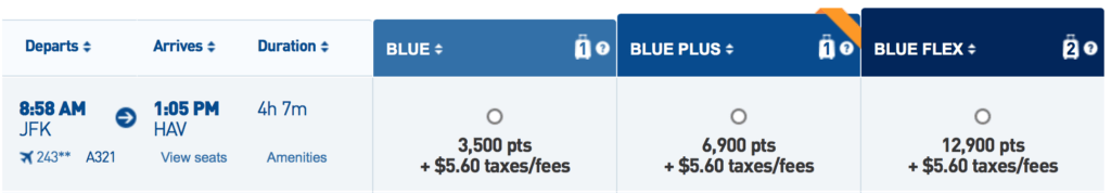 Redeem 3,500 TrueBlue points + $5.60 in taxes/fees for those flights