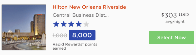 You can earn the same number of Southwest Rapid Rewards points when you book at Rocket Miles for many of the properties