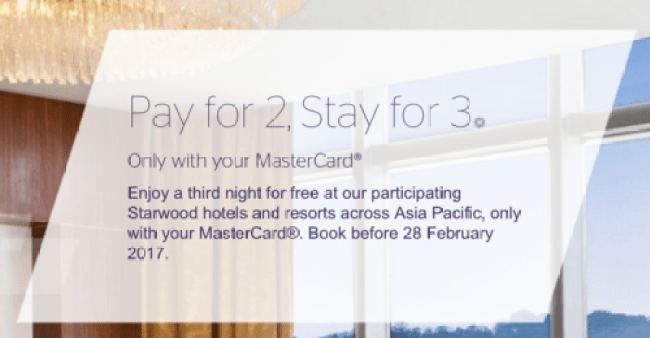 Get your 3rd night free at SPG properties in Asia Pacific when you pay with your MasterCard under this promotion.