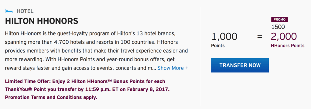 Get 2,000 Hilton HHonors points (instead of 1,500) for ever 1,000 ThankYou points transferred until February, 2017.