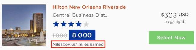 Alternatively, earn 8,000 United MileagePlus miles when you book the Hilton New Orleans Riverside