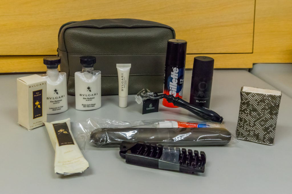 The new amenity kit provided for Emirates First Class passengers. Photo by the author.