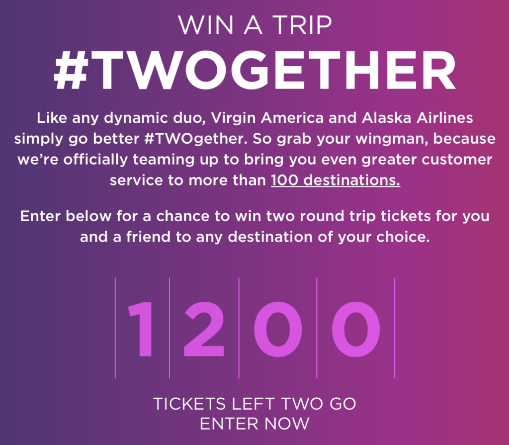 Alaska Airlines is giving away 1,200 round-trip tickets to celebrat the merger through the Twogether campaign.