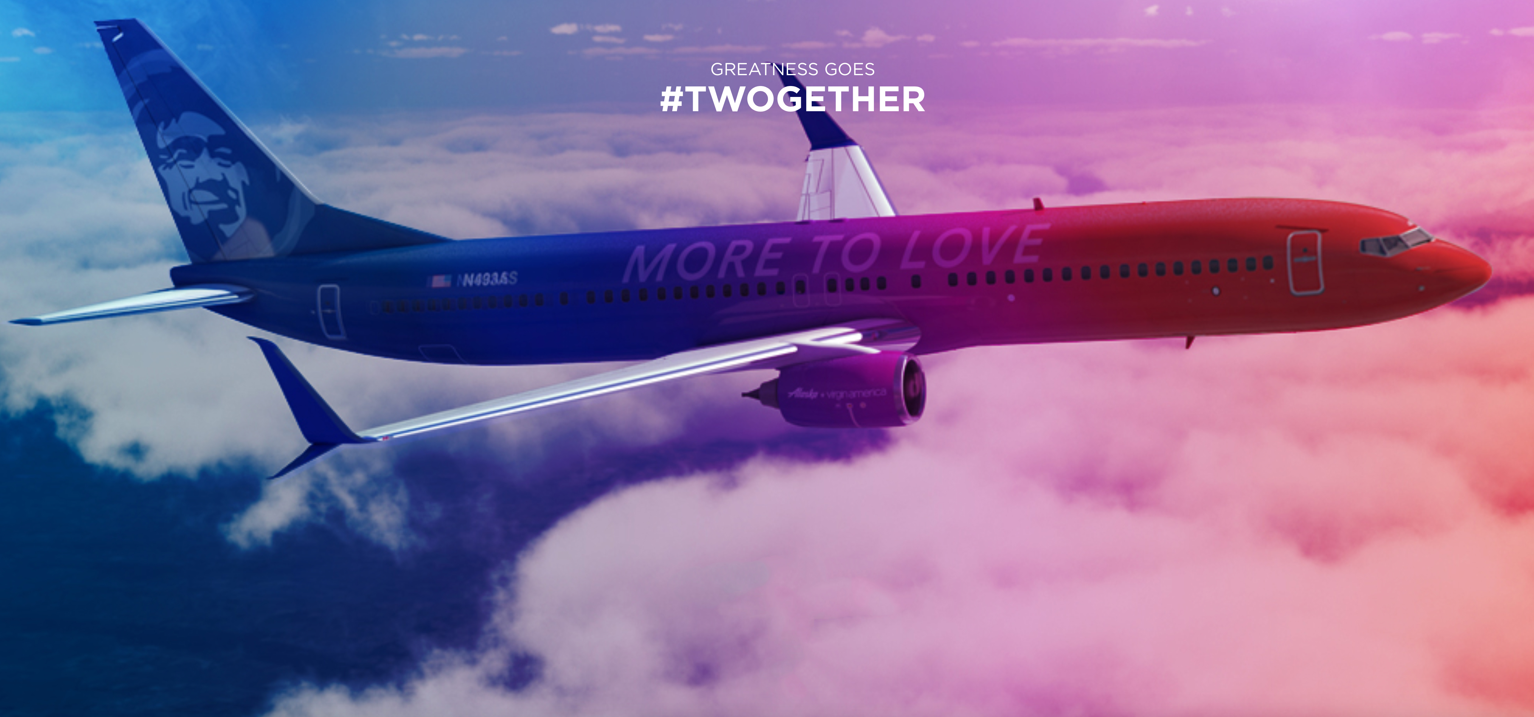 "A rendering of the special ""More to Love"" commemorative livery for the Alaska Airlines + Virgin America merger. spg virgin America"