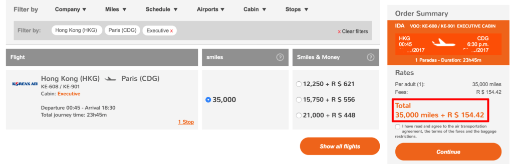 Fly from Hong Kong (HKG) to Paris (CDG) for just 35,000 GOL Smiles one-way in Korean Business Class!