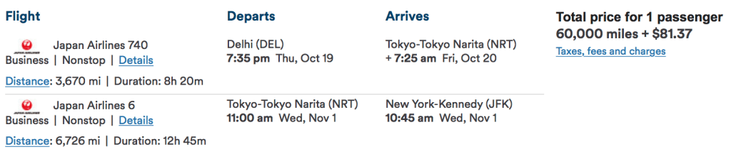 Fly from Delhi to New York with a stopover in Tokyo for just 60,000 miles one-way in Business Class!