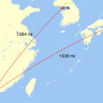 A connection in Hong Kong significantly increases the distance flown.