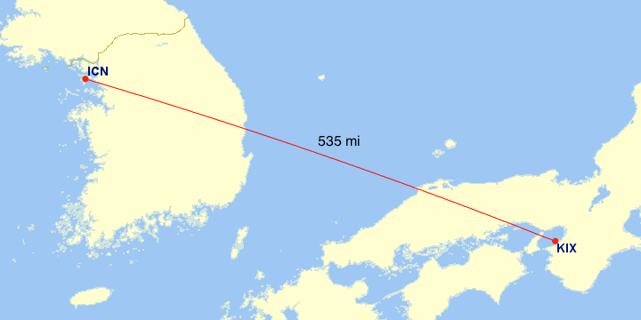 The great circle distance between Osaka (KIX) and Seoul (ICN) is 535 miles.