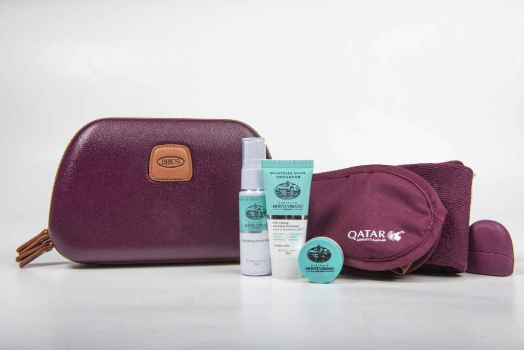 Qatar Airways' new Business Class Womens amenity kit by BRICS, with Castello Monte Vibiano Vecchio products. Flickr/Qatar