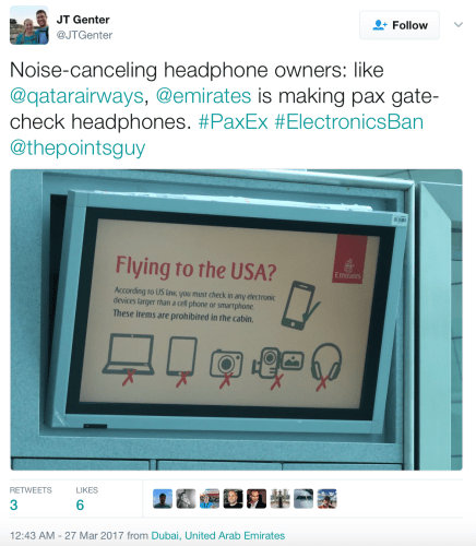 Emirates is making passengers check headphones on flights to the US.