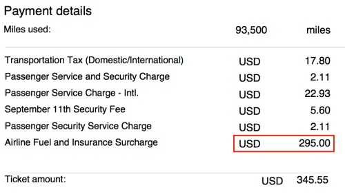 Singapore charged me $295 in fuel surcharge for a flight between New York and Singapore. This fuel surcharge will go away with the latest KrisFlyer devaluation.