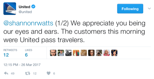 United confirmed on Twitter that the travelers involved in the incident were indeed pass travelers.