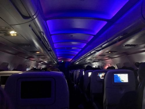 By our midnight arrival, Virgin's mood lighting had faded to a deep purple.