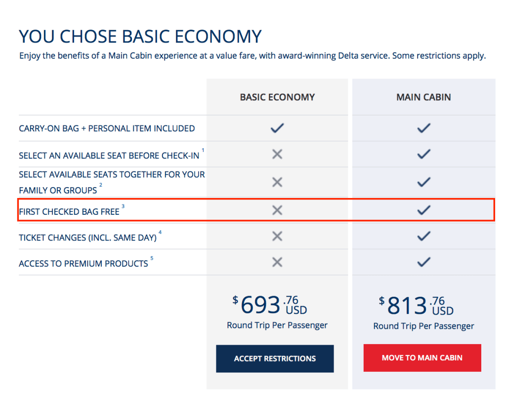 Delta eliminates free checked bag on transatlantic flights for What is the difference between delta comfort and main cabin