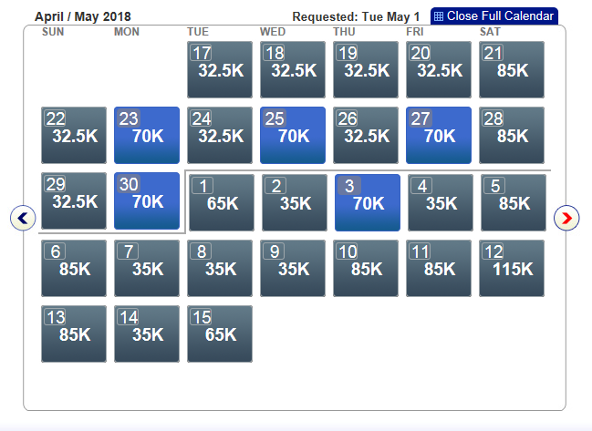 Business Class award availability on American Airlines' Dallas-Hong Kong flights in May 2018.