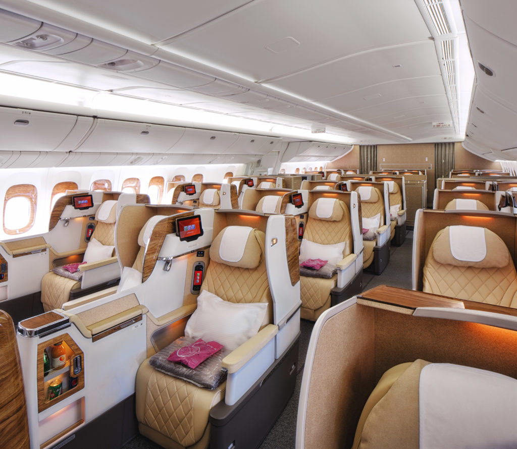 Emirates is retrofitting 777-200LR with the new Business Class, in a 2-2-2 configuration. Source: Emirates