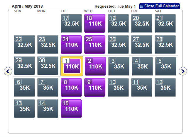 First Class award availability on American Airlines' Los Angeles-Hong Kong flights in May 2018.