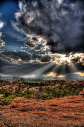 A monsoon clears from above Point of Rocks Campground