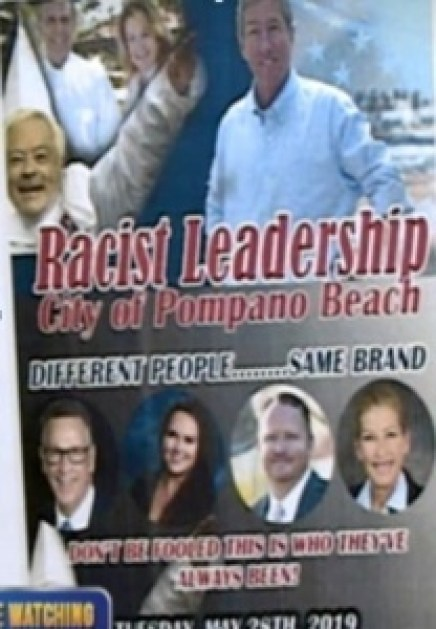 Inflammatory flyer making racist accusations against city leaders, including false KKK inferences.