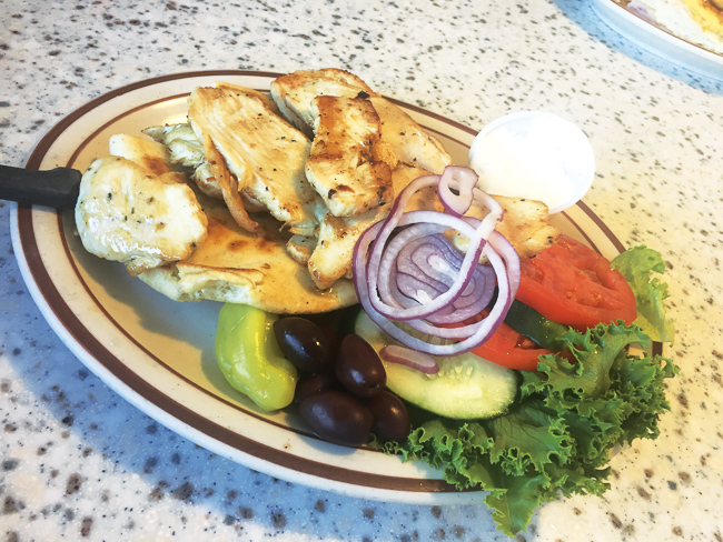 A grilled chicken platter at Olympia Flame Diner in Deerfield Beach.
