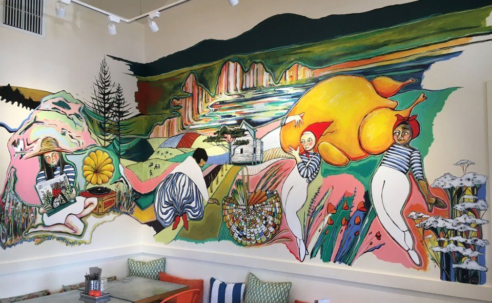 Mural by Isis Hockenos, inside Side Street Kitchen