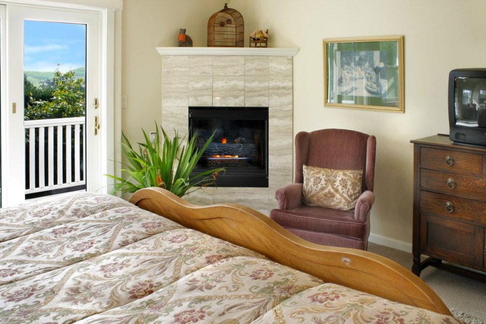 Satinwood room with bed, furniture, fireplace and country views.