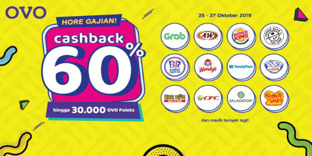 Ovo Hore Gajian Kasih Cashback Hingga 60 Oktober 2019