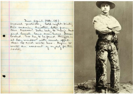 Charlotte Perkins Gilmans' diary (via National Library of Medicine); Roosevelt as a young man (via Britannica online)