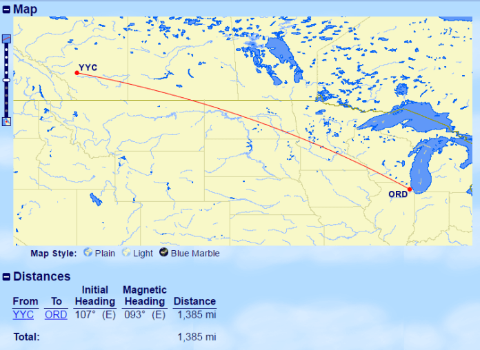 YYC-ORD Distance