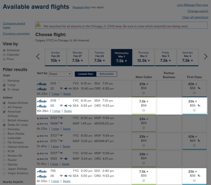 YYC-SEA-ORD Award Result