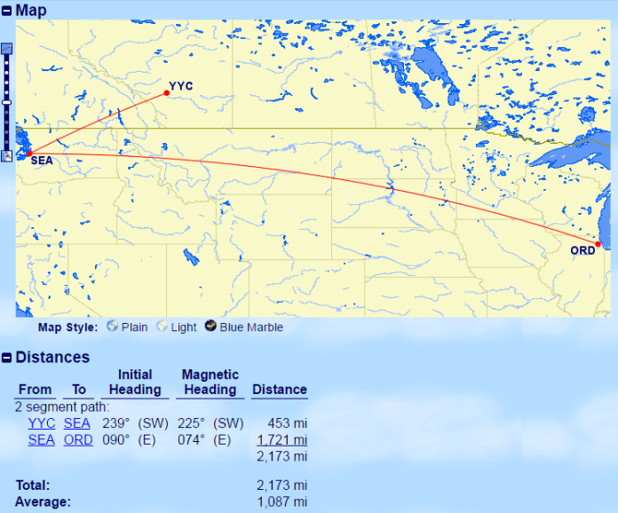 YYC-SEA-ORD Distance