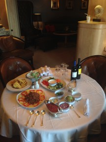 Appetizer setup in our suite as we sailed away from Istanbul