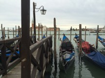 Gondolas docked in Venice