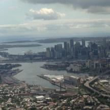 Sydney Harbor on final approach into SYD