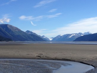 Turnagain Arm at low tide, just prior to the Bore Tide rolling in