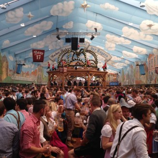 The packed-out Hacker Pschorr Tent at Oktoberfest
