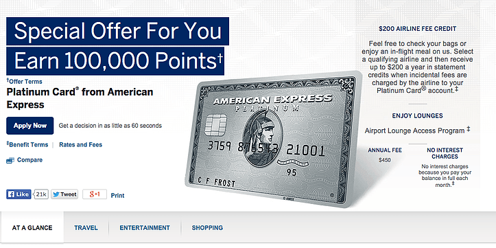 AMEX Platinum 100K Bonus Points Offer