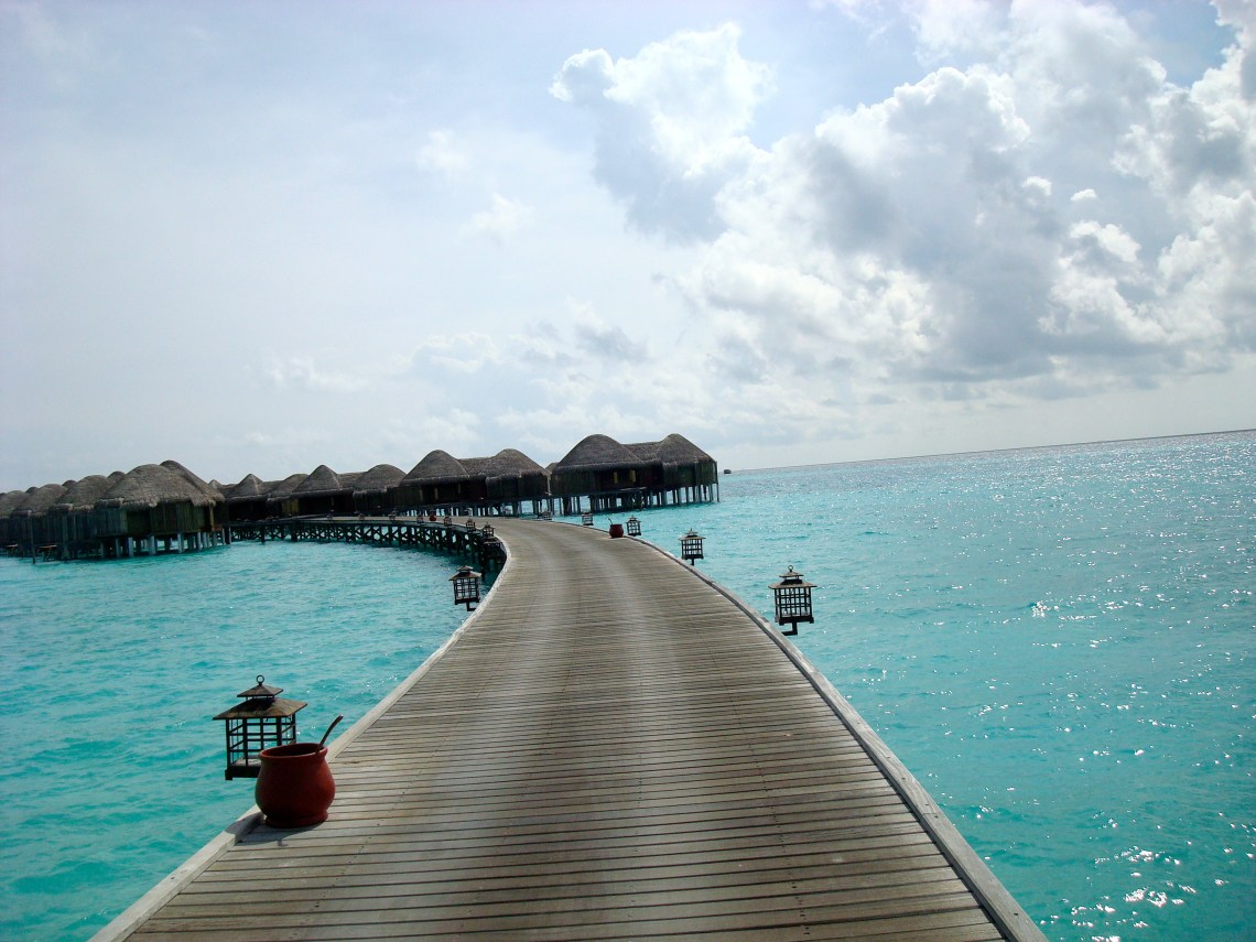 Walk way to water villas