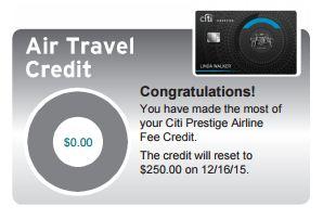 Citi prestige $250 credit 2